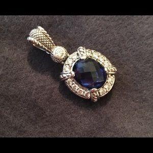 Judith Ripka Sapphire & CZ Pendant/Enhancer-SS